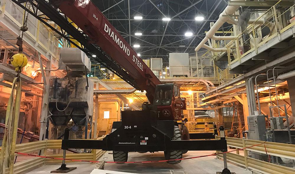 Diamond Steel performing maintenance.